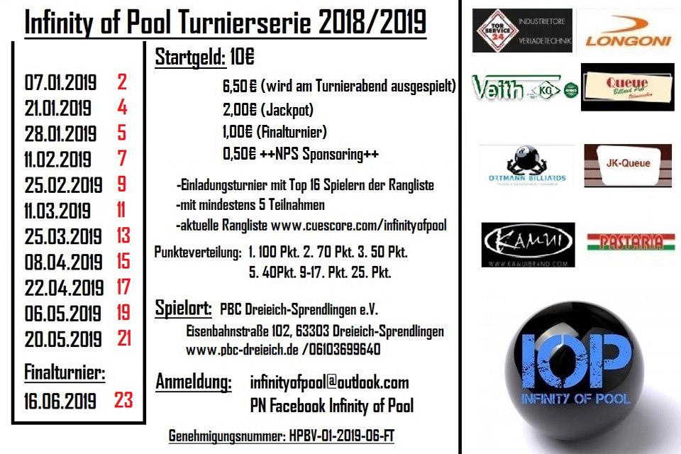 Infinity of Pool Turnierserie im PBC Dreieich-Sprendlingen (Montagsturnier)